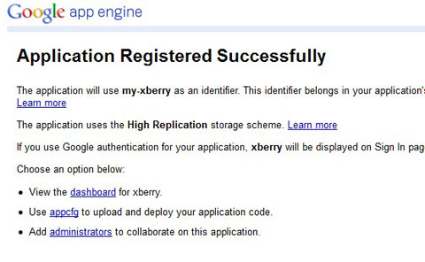 Application registered successfully